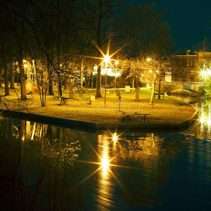 Island City. Long Exposure shot of an Island Park in midwestern small town royalty free stock photography