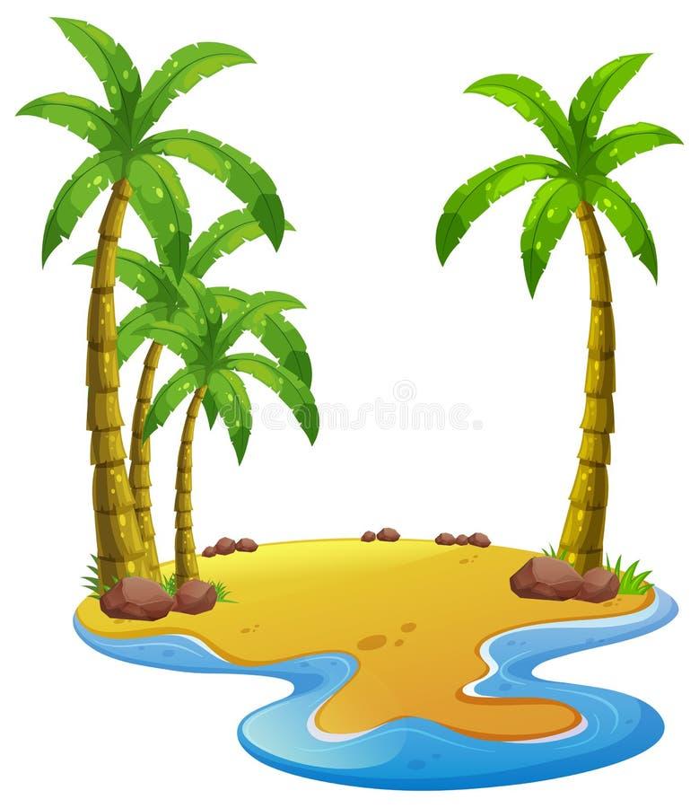 Island with coconut trees. Illustration royalty free illustration