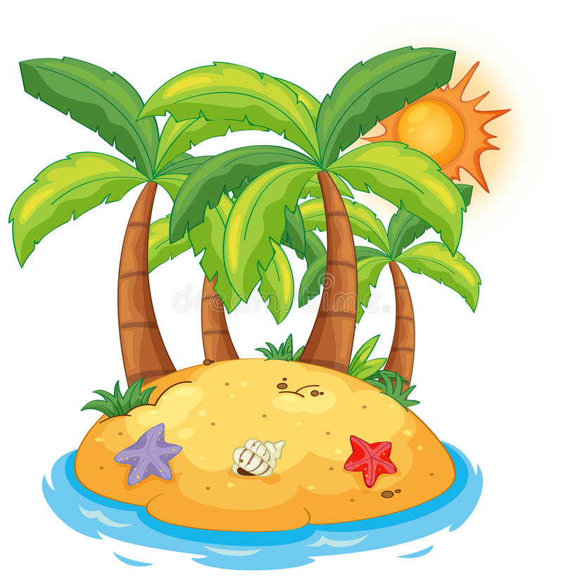 An island with coconut trees vector illustration
