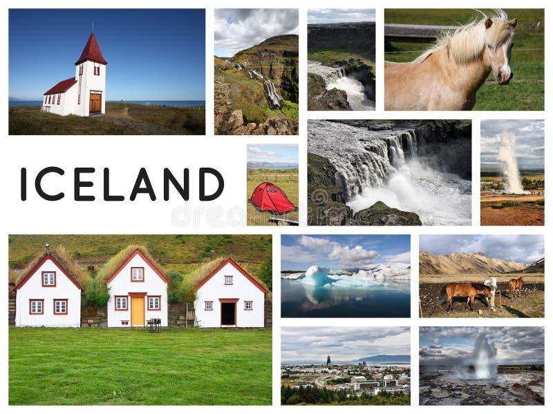 Island-Collagenpostkarte lizenzfreie stockfotos