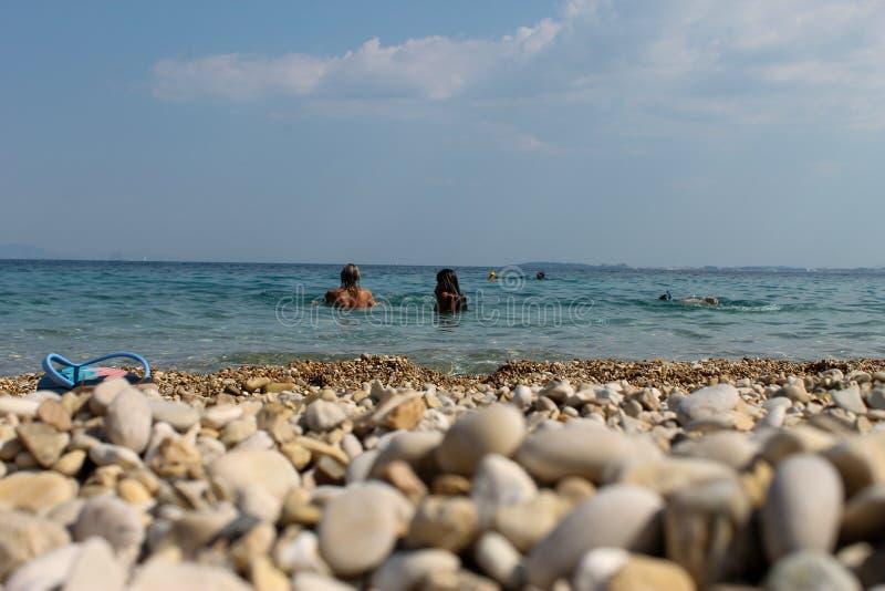 Island of Corfu in Greece. Paleokastritsa in the island of Corfu in Greece - image. June 2019 stock image
