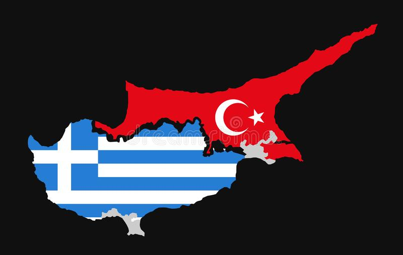 Island of Cyprus is divided into Greek and Turkish territory. Cyprus dispute, issue, problem and conflict between Turkey and Greece. Vector illustration royalty free illustration