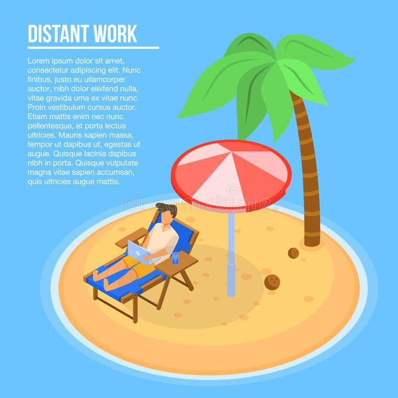 Island distant work concept background, isometric style royalty free illustration
