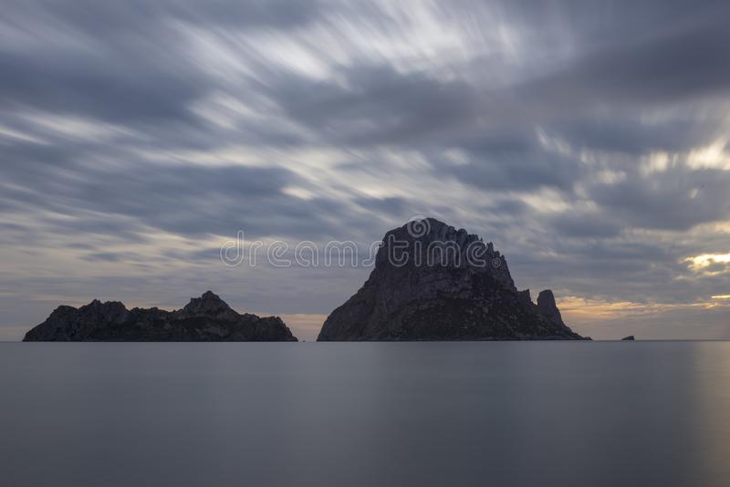 The island of es vedra of Ibiza in long exposure. Spain royalty free stock image