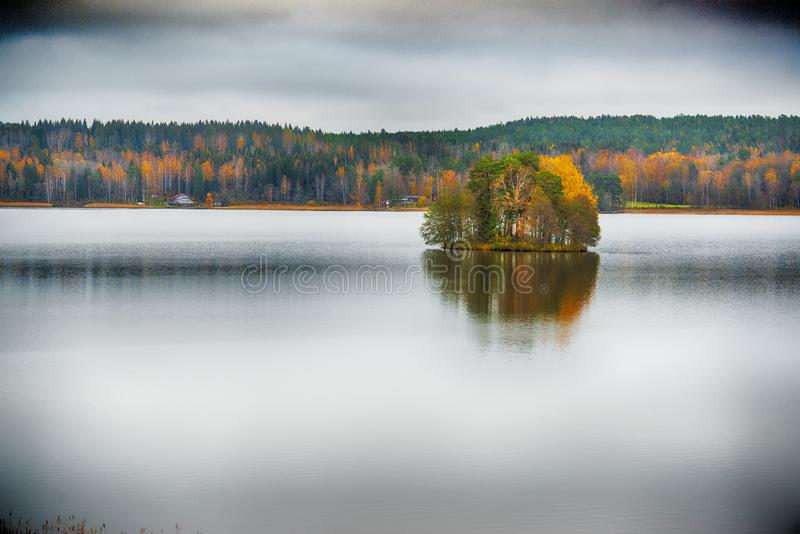 Island by fall stock image