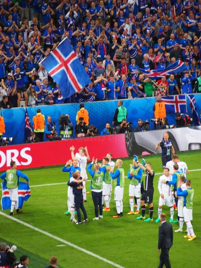 Island fans firar arkivfoton