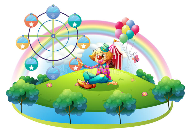 An island with a female clown and an amusement park stock illustration