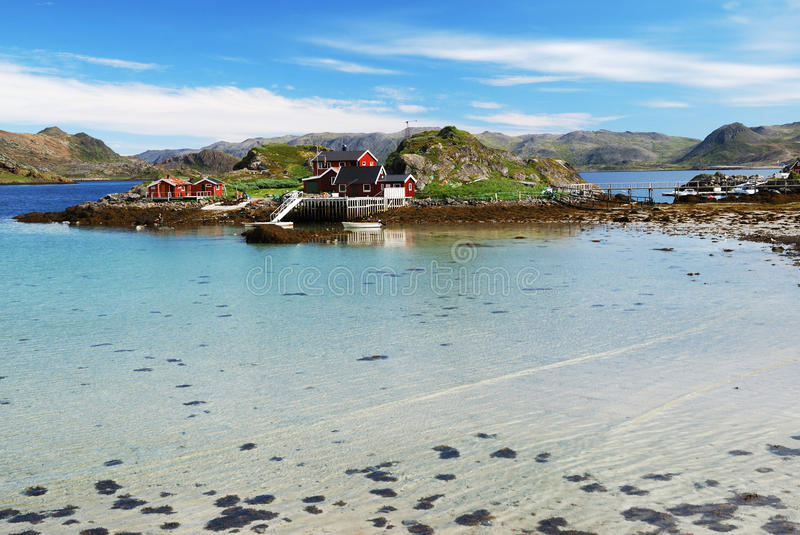 Island with fishing village in the middle of fjord, Mageroya stock image