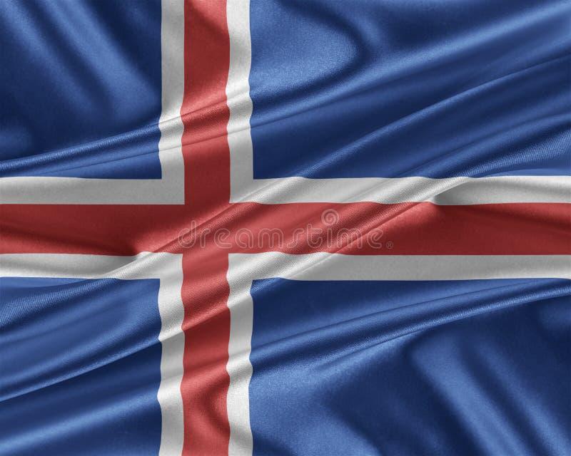 Island flagga med en glansig siden- textur stock illustrationer