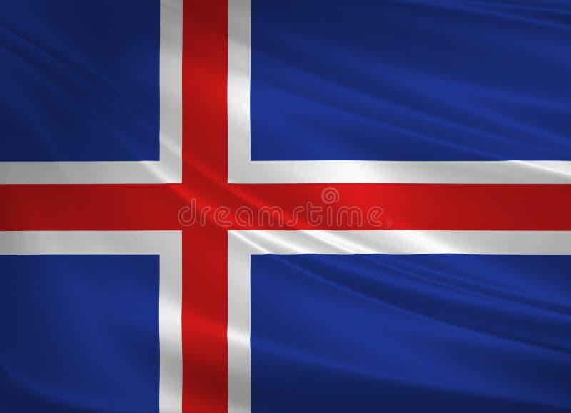 Island-Flagge, die im Wind durchbrennt Detail des alten hölzernen Fensters 3d Wiedergabe, wellenartig bewegende Flagge vektor abbildung