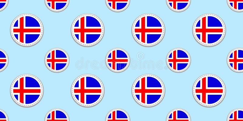 Island-Flaggenhintergrund Isländische runde Formen Nahtloses Muster Vektorkreisikonen Geometrische Symbole Beschaffenheit für stock abbildung