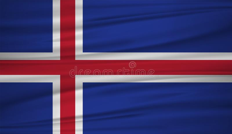 Island-Flaggenvektor Vector Flagge von Island-blowig im Wind stock abbildung