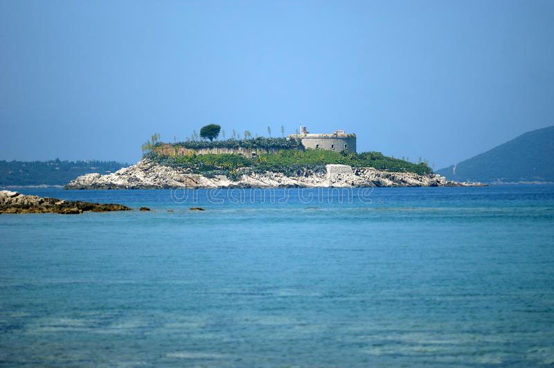 Island with fortress Mamula stock image