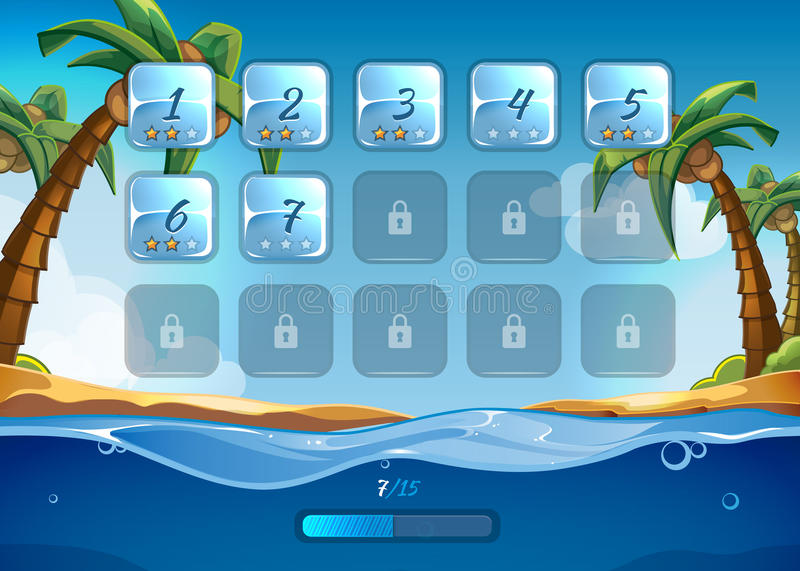 Island game background with user interface. UI in cartoon style. App and background, sea and adventure, water and wave, play and beach, vector illustration vector illustration