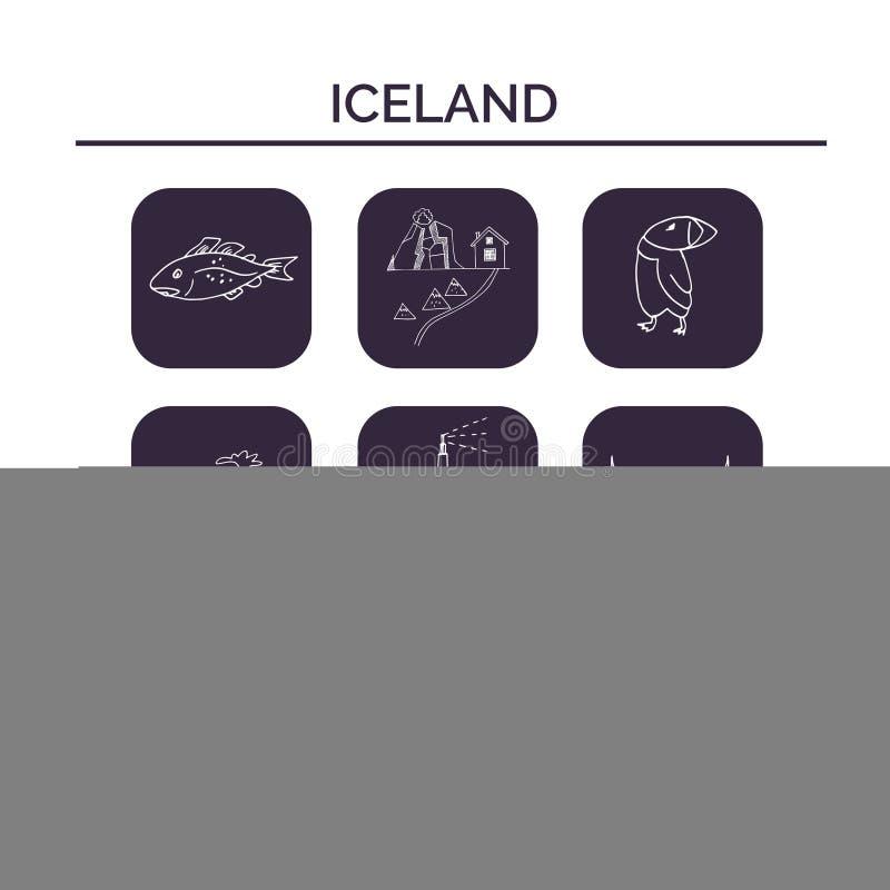 Island hand dragen klotteruppsättning skissar Vektorillustration för design- och packeprodukt Symbolsamling stock illustrationer