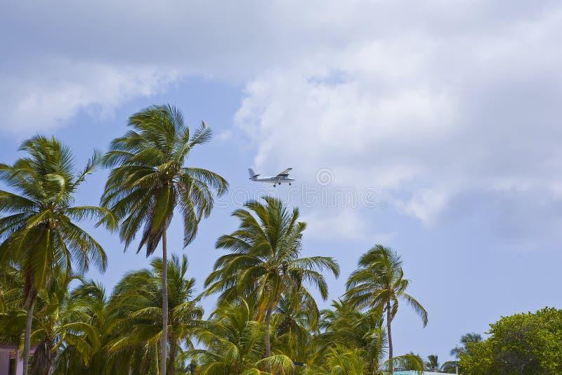 Island Hopper Airplane in the Caribbean. Leaving Cayman Brac stock photo