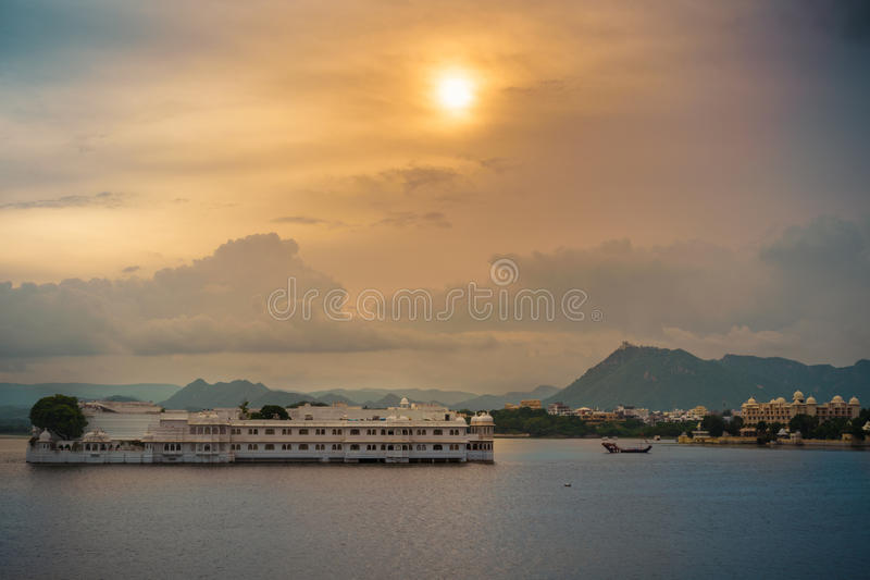 Island hotel in the lake. stock photos