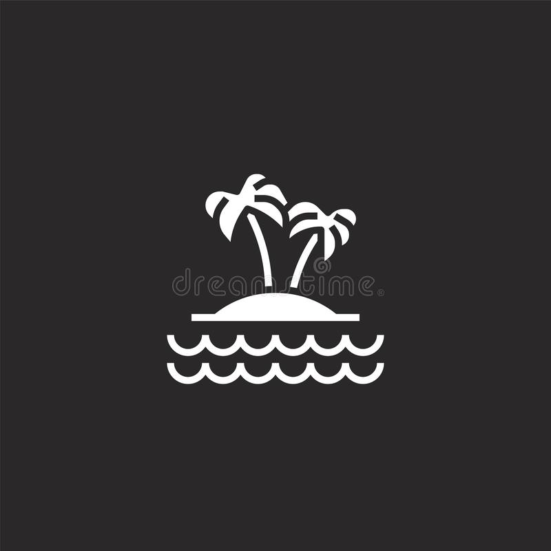 Island icon. Filled island icon for website design and mobile, app development. island icon from filled diving collection isolated. On black background royalty free illustration
