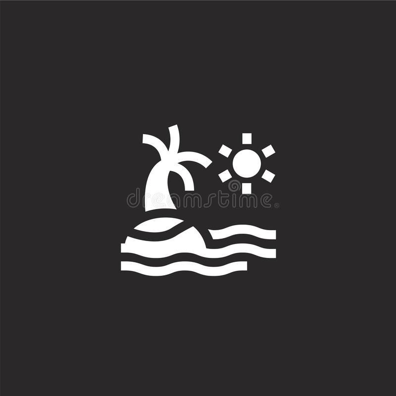 Island icon. Filled island icon for website design and mobile, app development. island icon from filled summer holidays collection. Isolated on black background vector illustration
