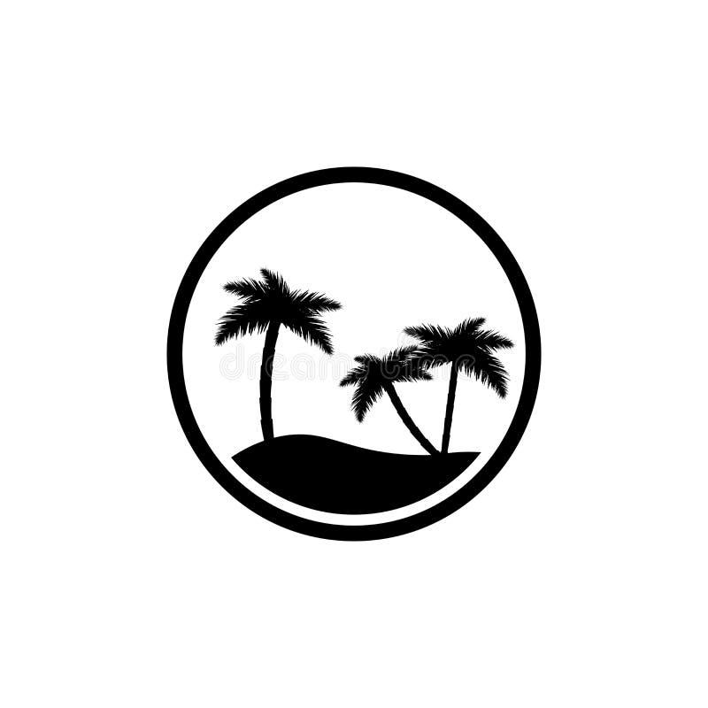 Island icon, palm trees with sun, flat design template, vector illustration. Island icon, palm trees with sun, flat design template, isolated object, vector stock illustration