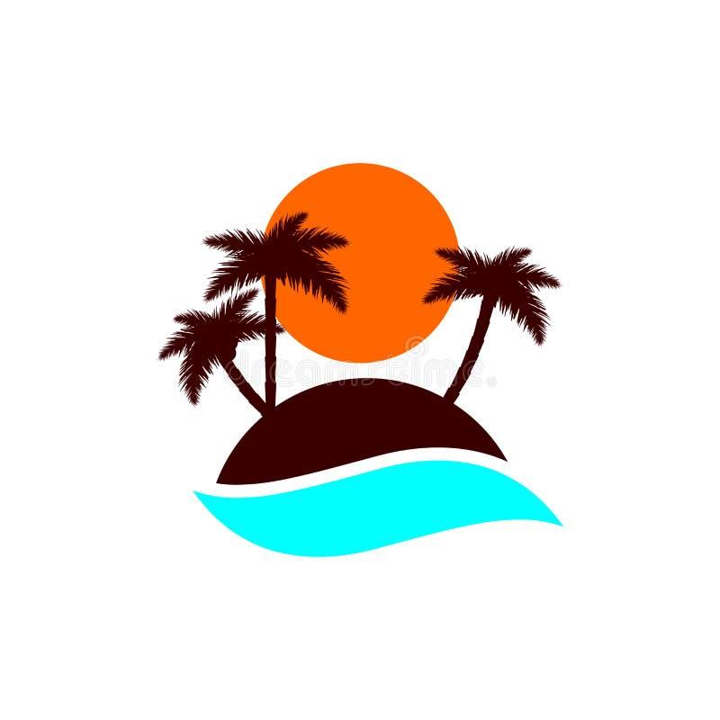 Island icon, palm trees with sun, flat design template, vector illustration. Island icon, palm trees with sun, flat design template, isolated object, vector vector illustration