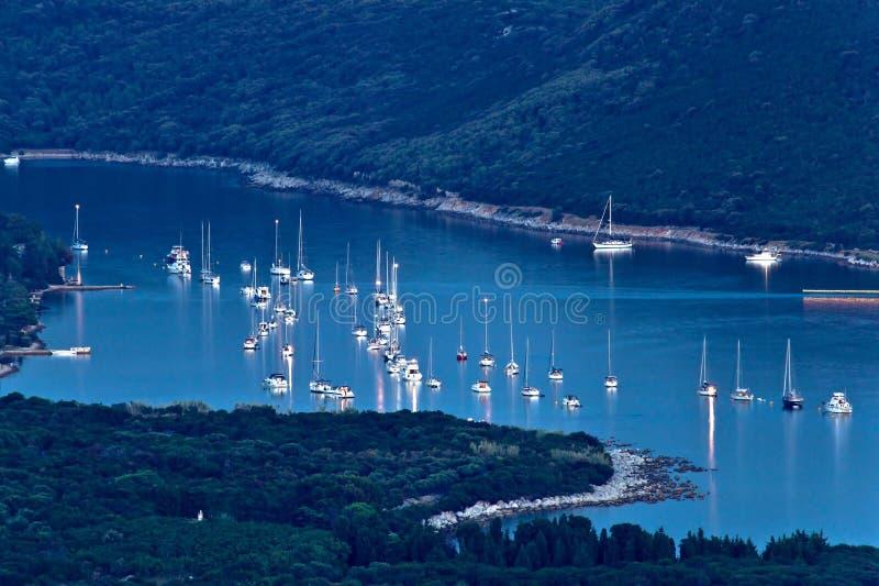 Island Of Ilovik Safe Nautical Harbor At Dusk Stock Image
