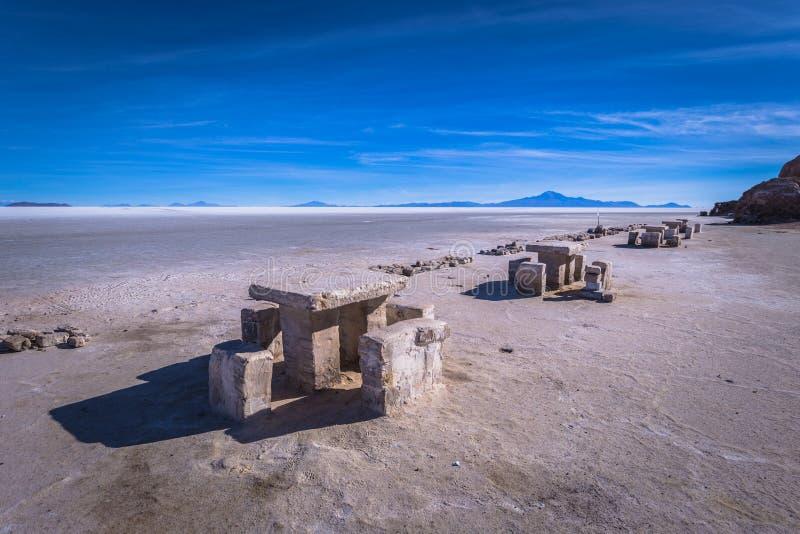 Island of Incahuasi at the Uyuni Salt Flats, Bolivia stock images
