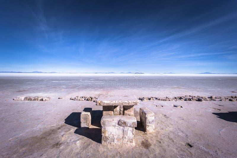 Island of Incahuasi at the Uyuni Salt Flats, Bolivia royalty free stock photography