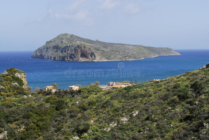 Download The island and its cave stock image. Image of beach, chania - 4584147
