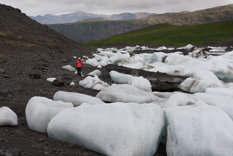 Island Jokulsarlon lagun, härlig kall landskapbild av den icelandic glaciärlagun arkivfoton