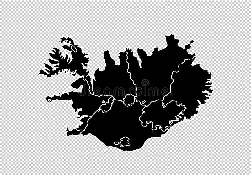 Island-Karte - ausführliche schwarze Karte des Hochs mit Grafschaften/Regionen/Staaten von Island Island-Karte lokalisiert auf tr lizenzfreie abbildung