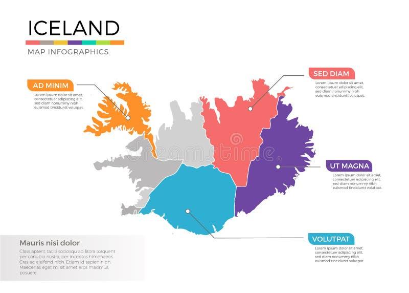 Island-Karte infographics Vektorschablone mit Regionen und Zeigerkennzeichen lizenzfreie abbildung