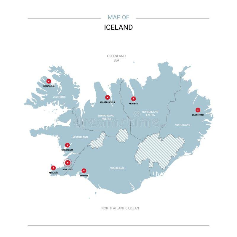 Island-Kartenvektor mit rotem Stift vektor abbildung