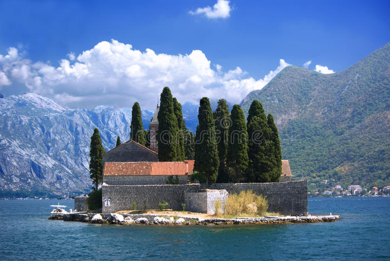 Island in Kotor bay stock photo