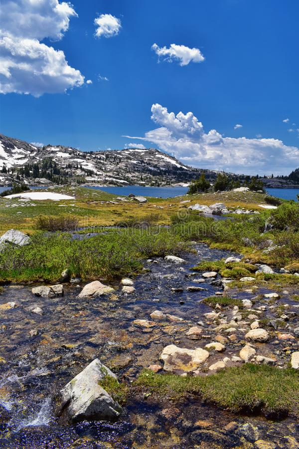 Island Lake in the Wind River Range, Rocky Mountains, Wyoming, views from backpacking hiking trail to Titcomb Basin from Elkhart P. Ark Trailhead going past stock photography