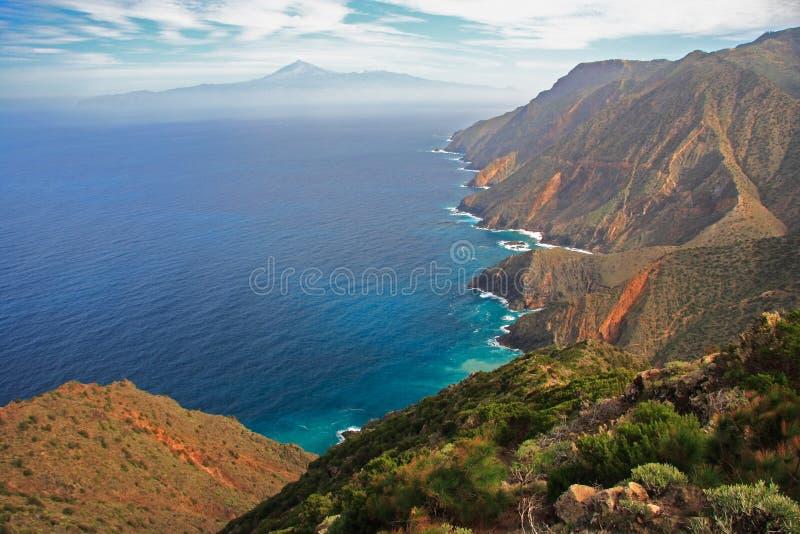 Island landscape. Tenerife seen from Gomera, Spain royalty free stock photography