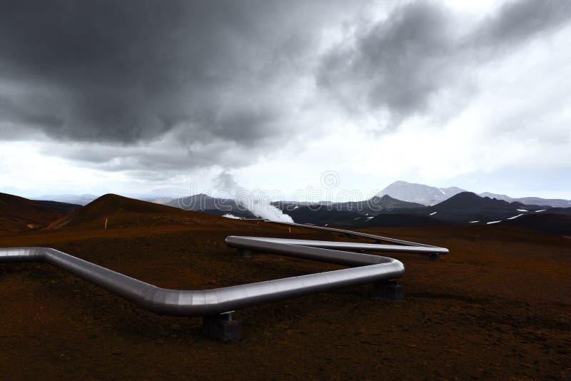 Island landskap med rör i berg arkivbilder