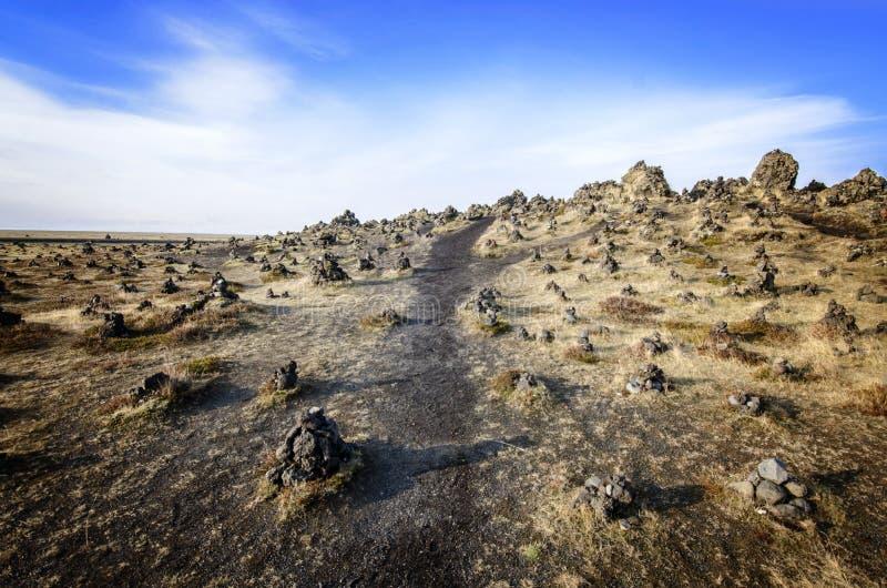 Island lavafält arkivfoto