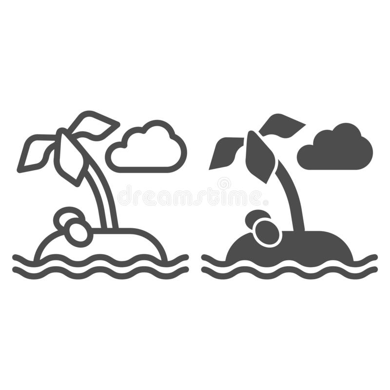 Island line and glyph icon. Palm tree vector illustration isolated on white. Tropical outline style design, designed for stock illustration