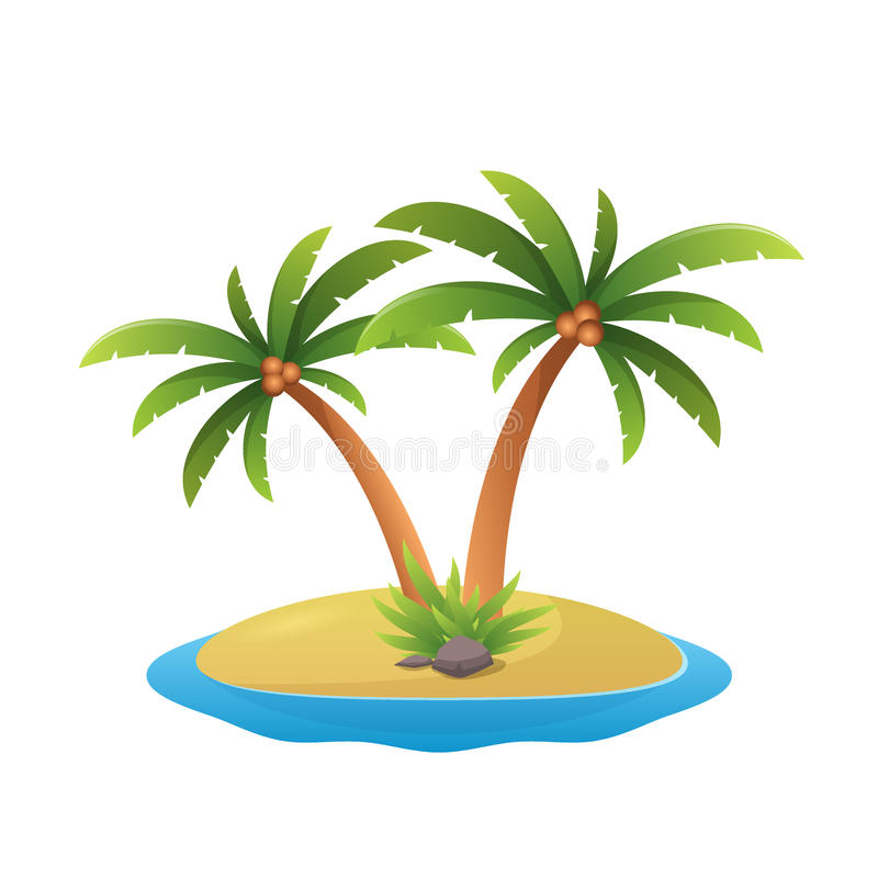 Island logo - tropical palm trees with sea waves vector illustration white background stock illustration