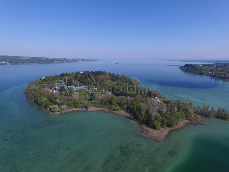 Island of Mainau taken with a drone stock photo