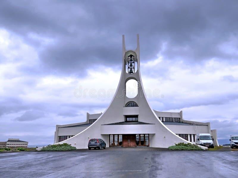 Island moderna kyrkliga Stykkisholmskirkja 2017 arkivbilder