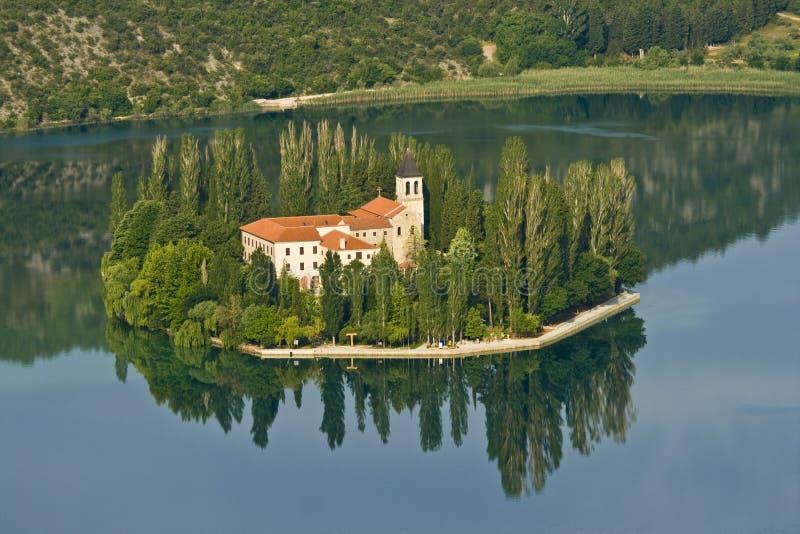 Island and monastery Visovac royalty free stock photos