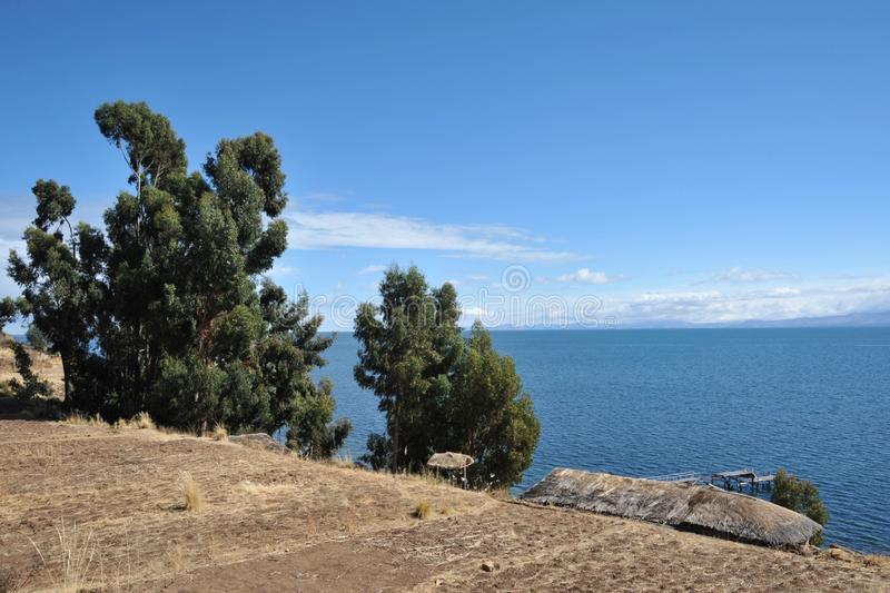 Island of the moon is located on lake Titicaca. ISLAND OF THE MOON, BOLIVIA - SEPTEMBER 4, 2010 : Island of the moon is located on lake Titicaca. The Incas live stock photo