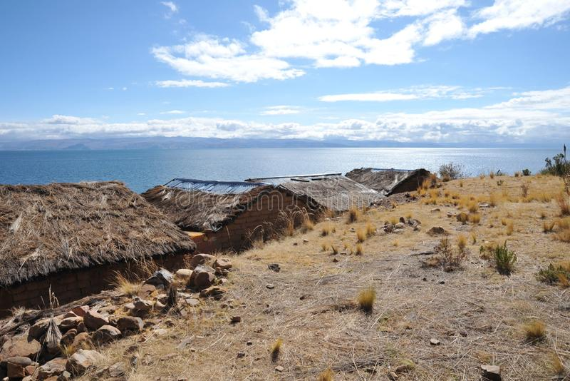 Island of the moon is located on lake Titicaca. ISLAND OF THE MOON, BOLIVIA - SEPTEMBER 4, 2010 : Island of the moon is located on lake Titicaca. The Incas live royalty free stock photo