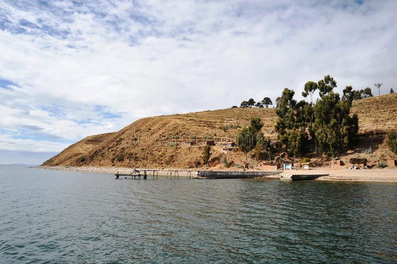 Island of the moon is located on lake Titicaca. ISLAND OF THE MOON, BOLIVIA - SEPTEMBER 4, 2010 : Island of the moon is located on lake Titicaca. At the time of stock photo