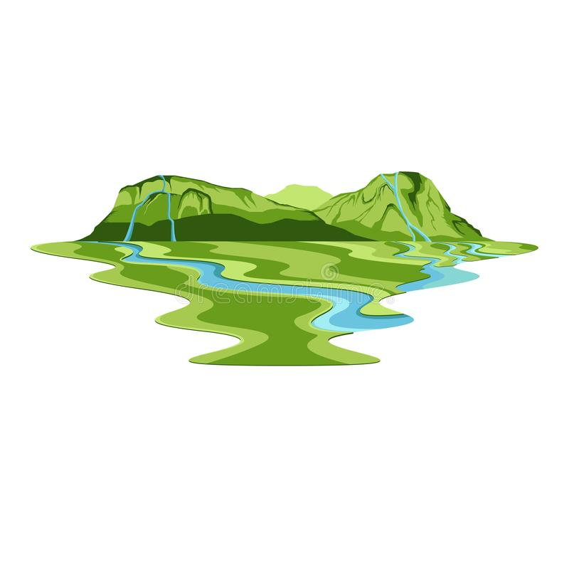 Island Mountain Forest Waterfall and River Landscape. Vector vector illustration