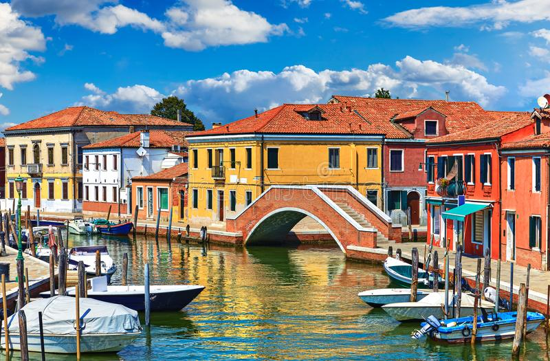 Island Murano in Venice Italy view stock images