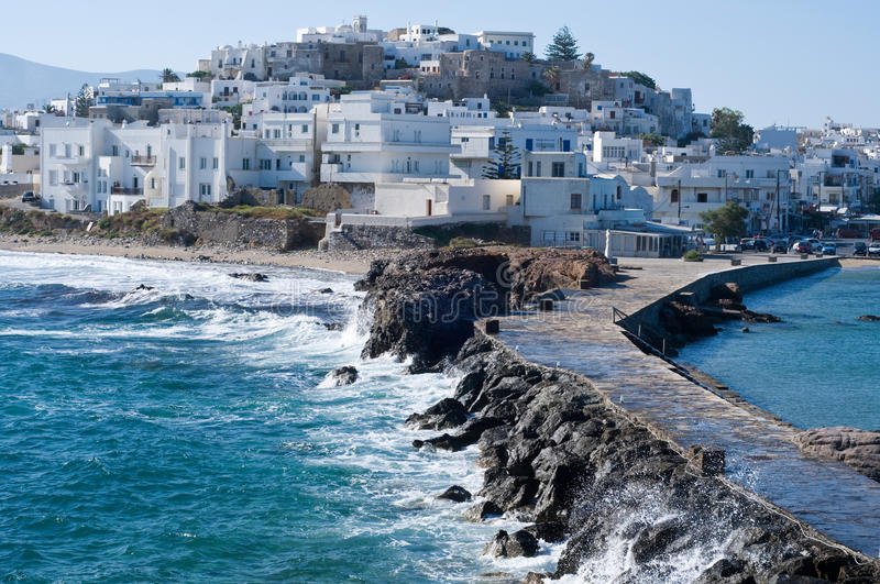Island of Naxos. With the village of Chora stock photos