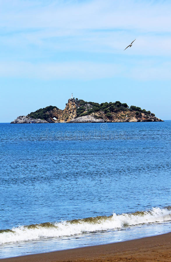 Download Island Near Iztuzu Beach And A Seagull Stock Photo - Image of daytime, empty: 24846926